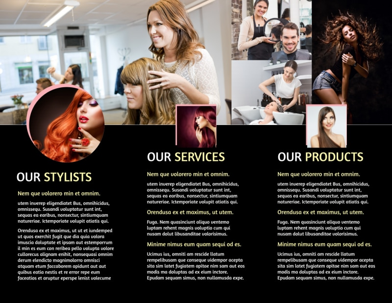 Hair Salon Style Tri-Fold Brochure Template Preview 3