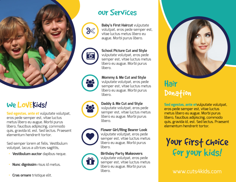Family Hair Salon Tri-Fold Brochure Template Preview 3