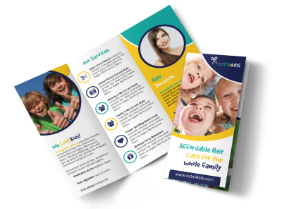 Family Hair Salon Tri-Fold Brochure Template preview