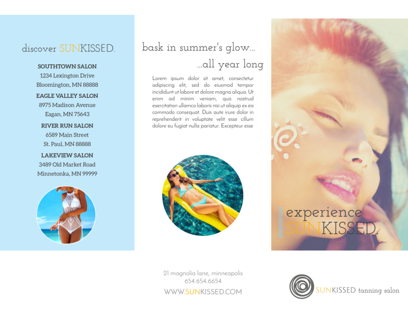 Tanning Packages Tri-Fold Brochure Template Preview 2