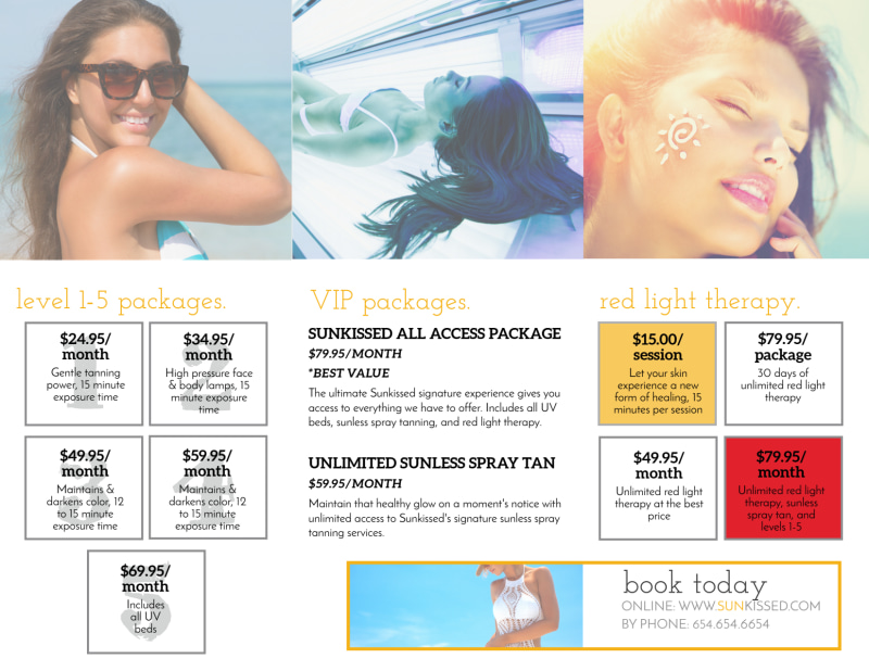 Tanning Packages Tri-Fold Brochure Template Preview 3