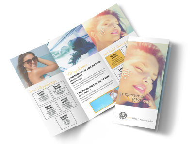 Tanning Packages Tri-Fold Brochure Template preview