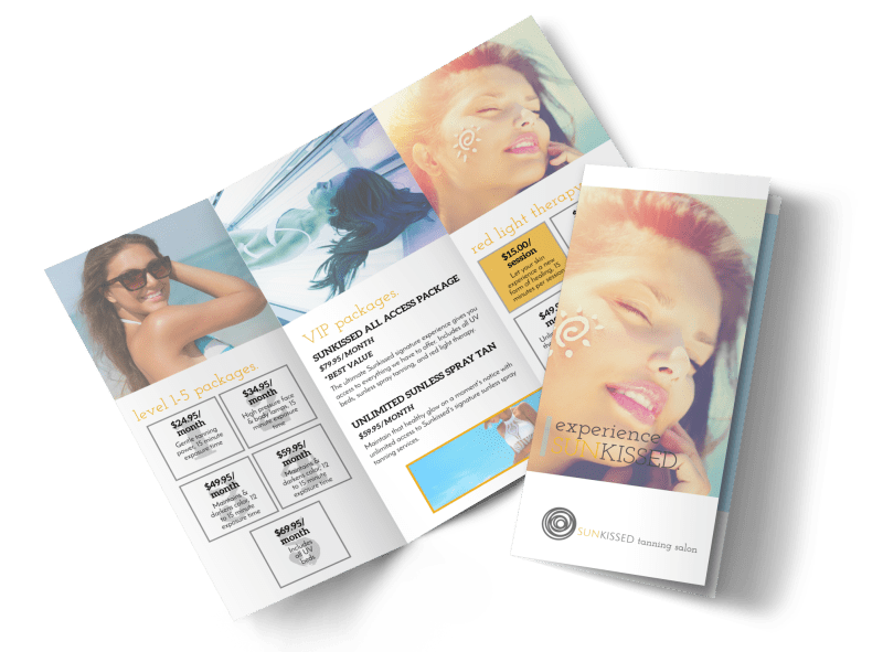 Tanning Packages Tri-Fold Brochure Template Preview 1