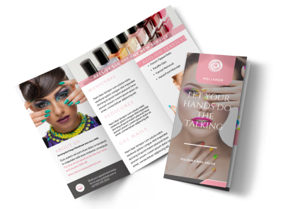 Nail Talk Tri-Fold Brochure Template preview
