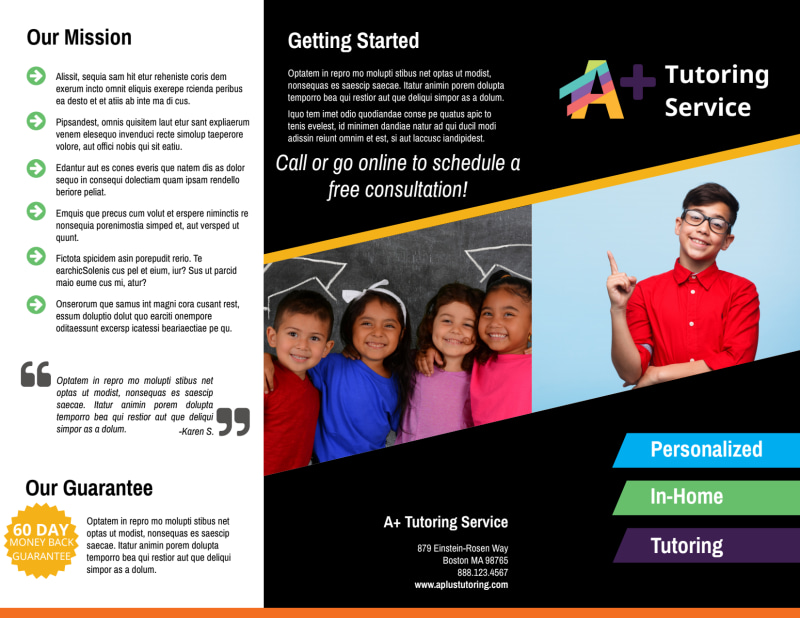 In-Home Tutoring Tri-Fold Brochure Template Preview 2