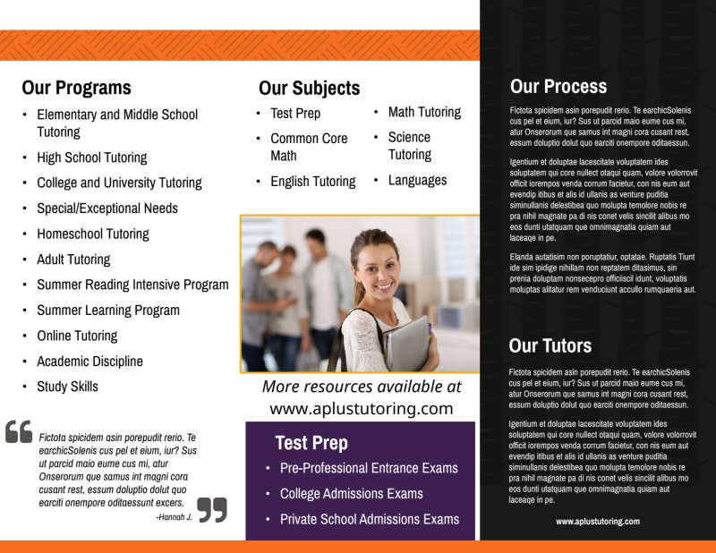 In-Home Tutoring Tri-Fold Brochure Template Preview 3