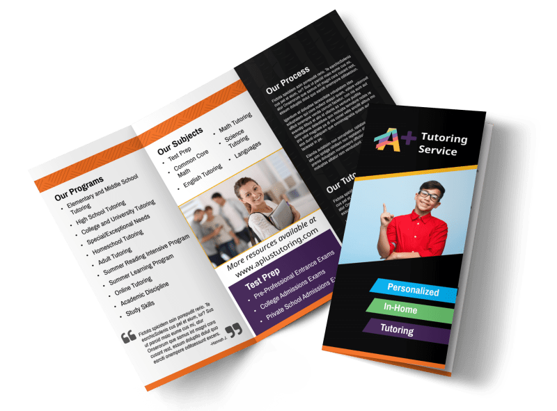 In-Home Tutoring Tri-Fold Brochure Template Preview 1