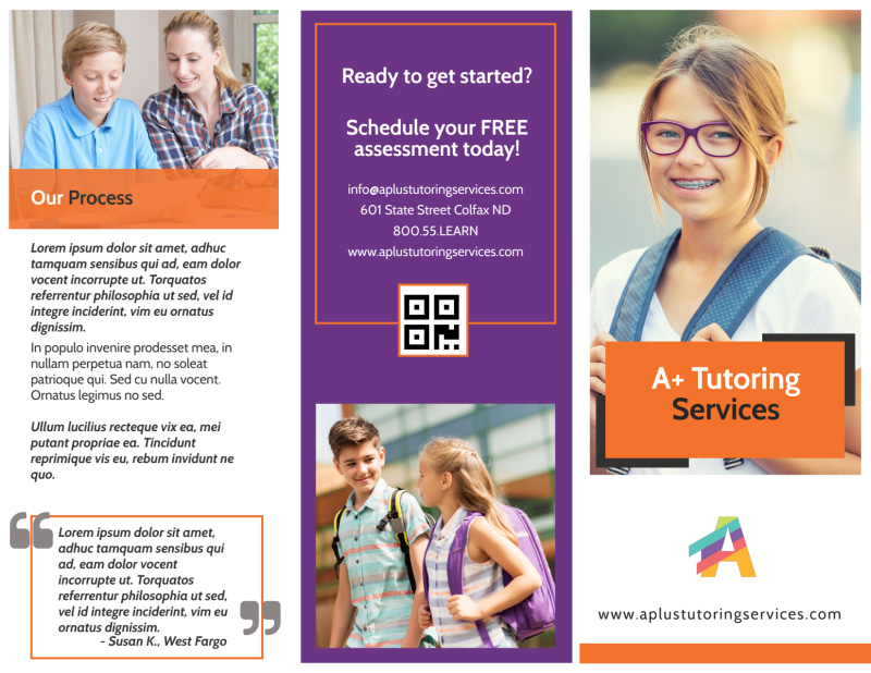 Fun Tutoring Service Tri-Fold Brochure Template Preview 2