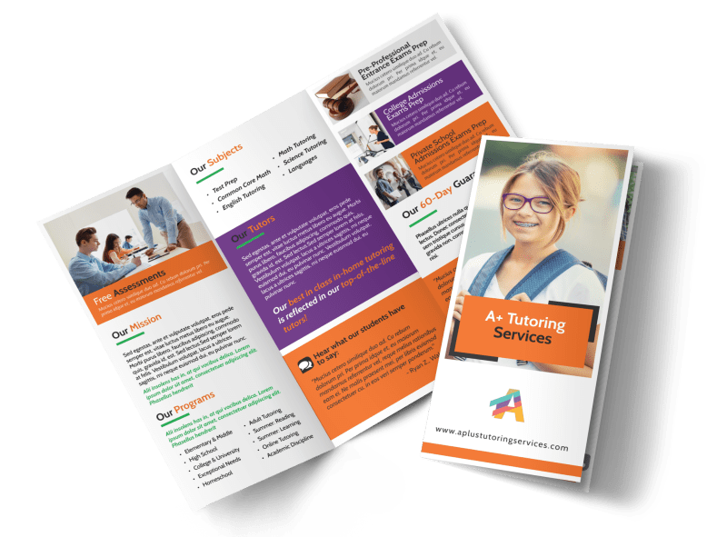 Fun Tutoring Service Tri-Fold Brochure Template Preview 1