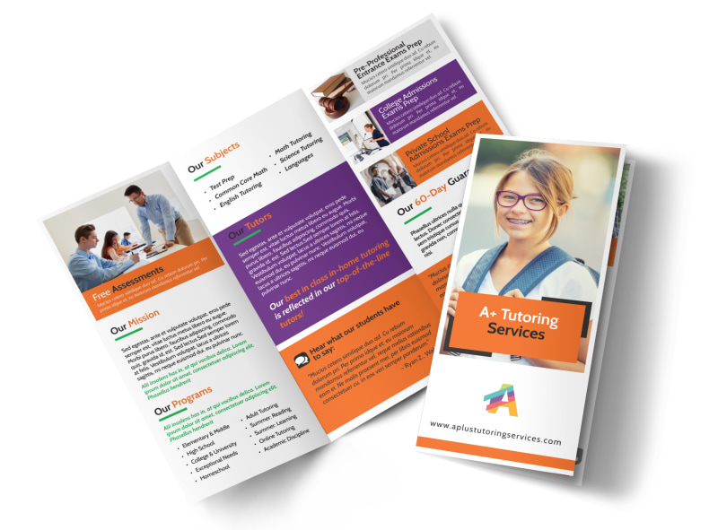 Fun Tutoring Service Tri-Fold Brochure Template Preview 4