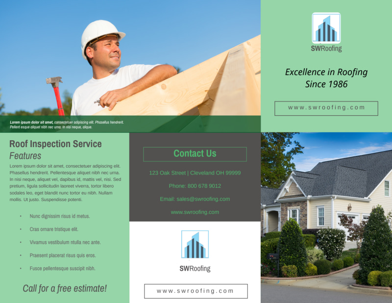 Roofing Experts Tri-Fold Brochure Template Preview 2