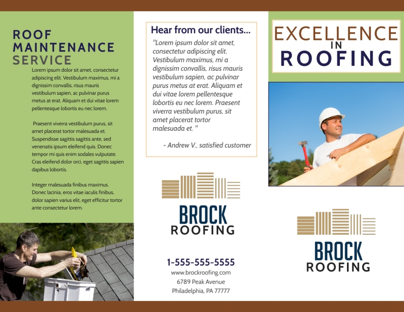 Simple Roofing Tri-Fold Brochure Template Preview 2