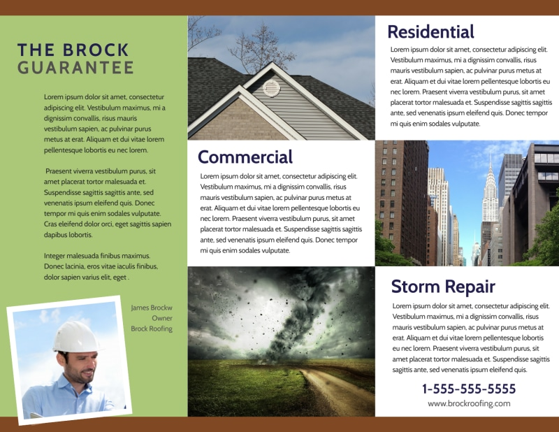 Simple Roofing Tri-Fold Brochure Template Preview 3