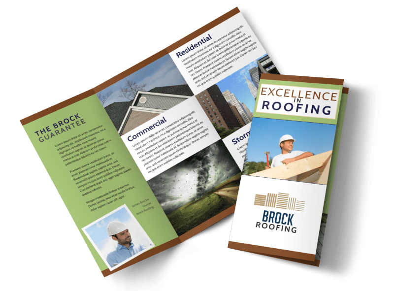 Simple Roofing Tri-Fold Brochure Template Preview 1