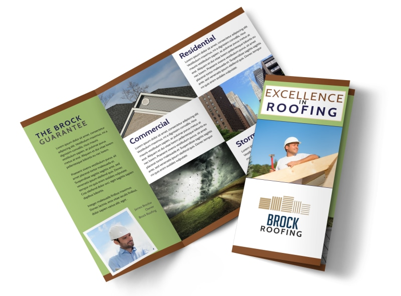 Simple Roofing Tri-Fold Brochure Template Preview 4
