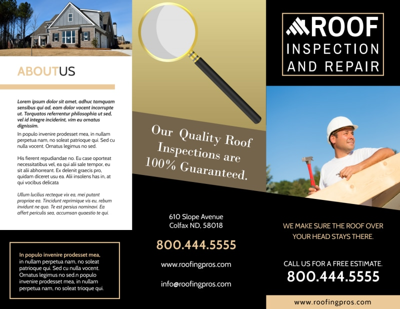 Roof Inspection Tri-Fold Brochure Template Preview 2