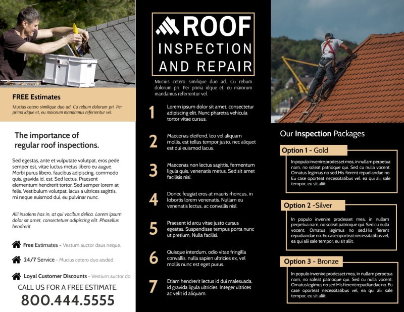 Roof Inspection Tri-Fold Brochure Template Preview 3