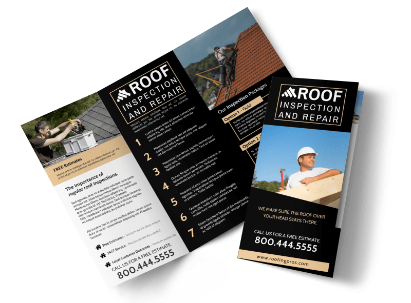 Roof Inspection Tri-Fold Brochure Template Preview 1