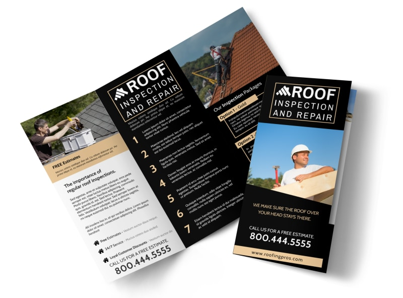 Roof Inspection Tri-Fold Brochure Template Preview 4