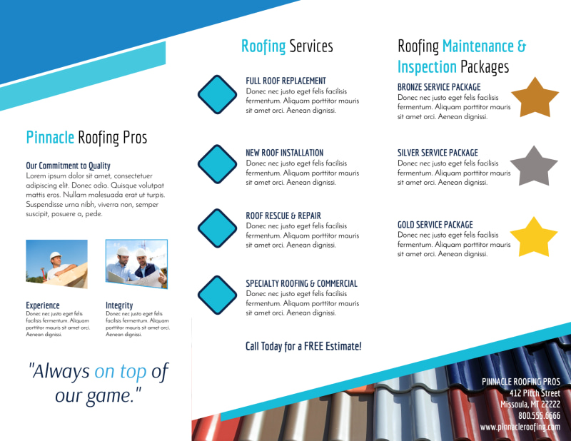 Clean Roofing Tri-Fold Brochure Template Preview 3