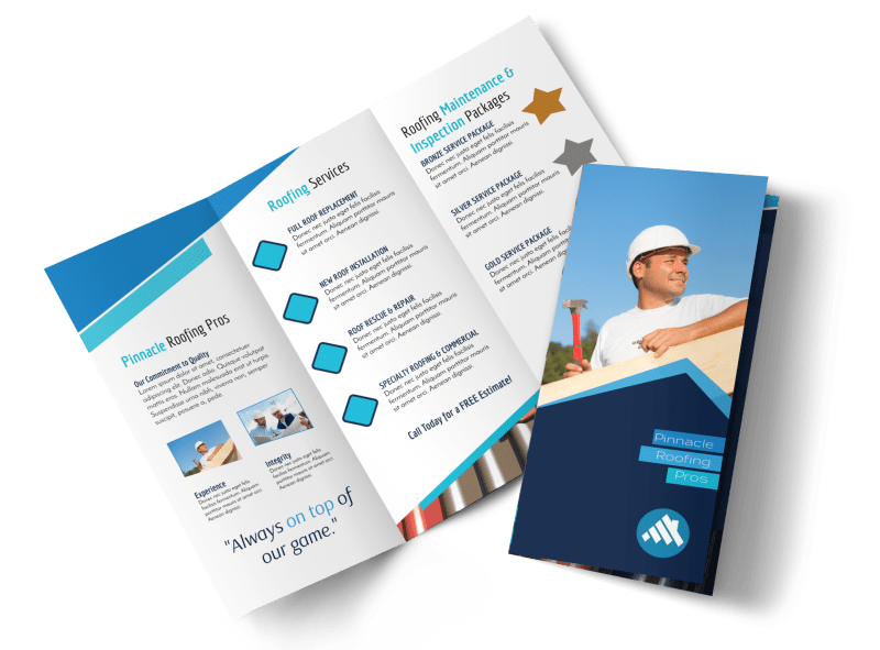 Clean Roofing Tri-Fold Brochure Template Preview 1