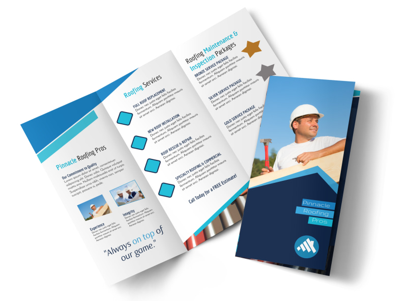 Clean Roofing Tri-Fold Brochure Template Preview 4