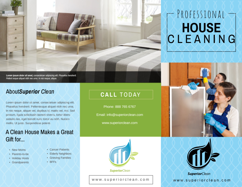 Pro House Cleaning Tri-Fold Brochure Template Preview 2