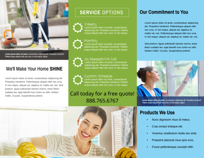 Pro House Cleaning Tri-Fold Brochure Template Preview 3