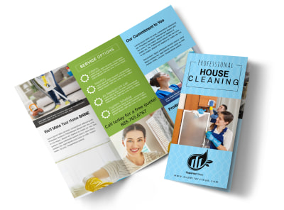 Pro House Cleaning Tri-Fold Brochure Template preview