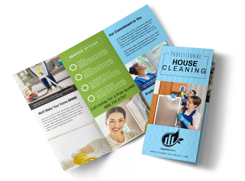Pro House Cleaning Tri-Fold Brochure Template Preview 1