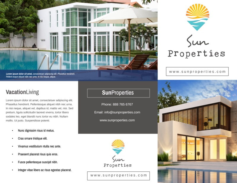 Sun Property Management Tri-Fold Brochure Template Preview 2