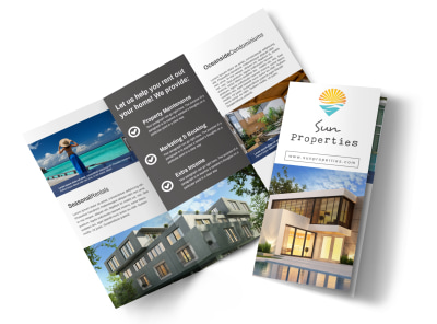 Sun Property Management Tri-Fold Brochure Template preview