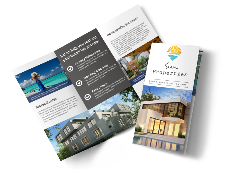 Sun Property Management Tri-Fold Brochure Template Preview 1
