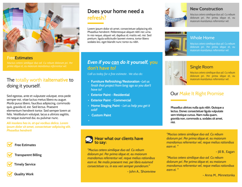 Fresh Painting Service Tri-Fold Brochure Template Preview 3