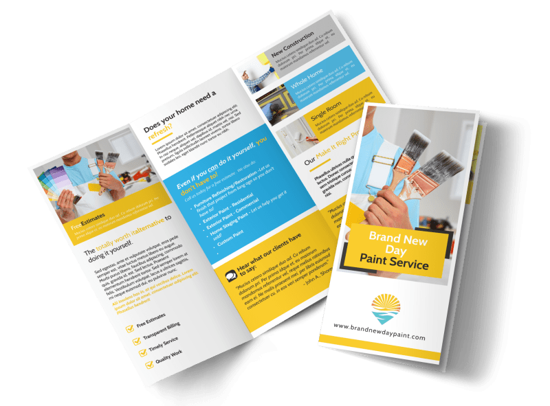 Fresh Painting Service Tri-Fold Brochure Template Preview 1