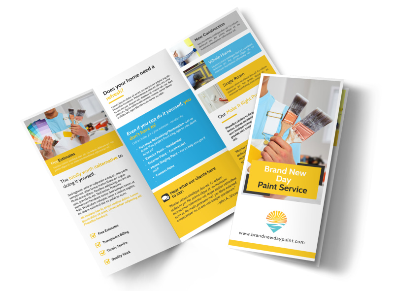 Fresh Painting Service Tri-Fold Brochure Template Preview 4