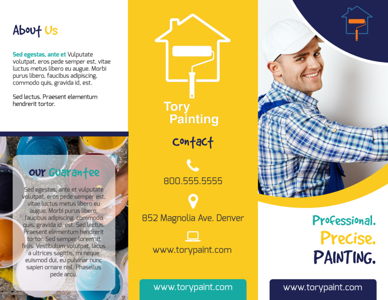 Precise Painting Tri-Fold Brochure Template Preview 2