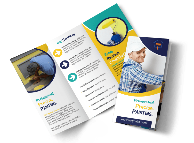 Precise Painting Tri-Fold Brochure Template Preview 1