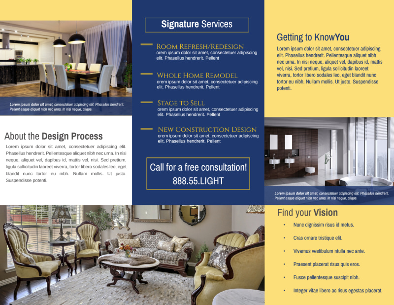 Interior Design Lighting Tri-Fold Brochure Template Preview 3