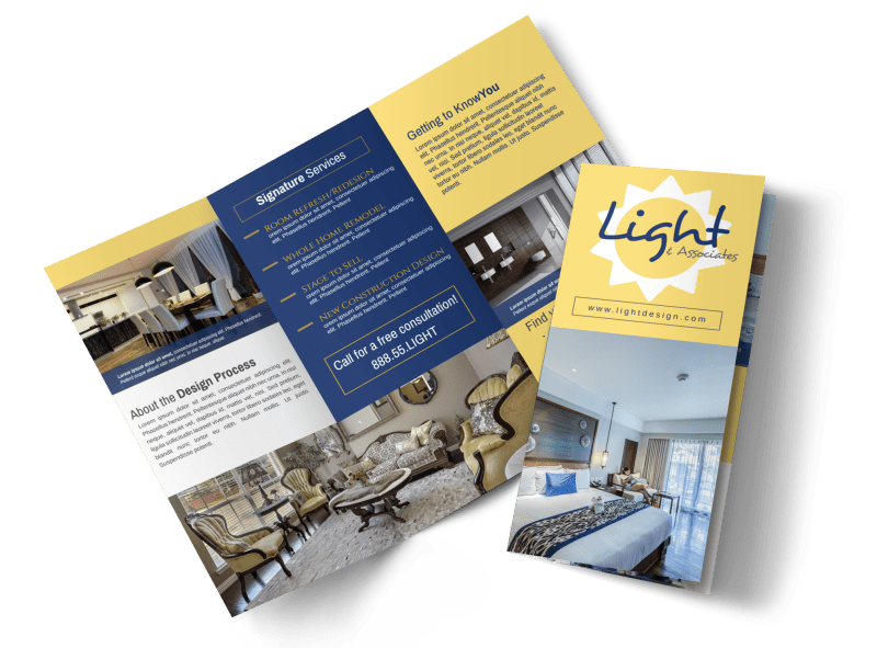 Interior Design Lighting Tri-Fold Brochure Template Preview 1