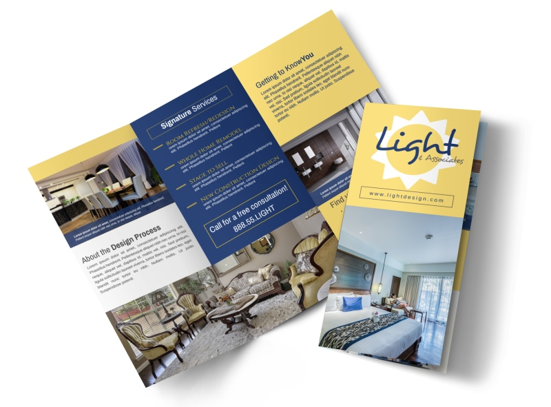 Interior Design Lighting Tri-Fold Brochure Template Preview 4