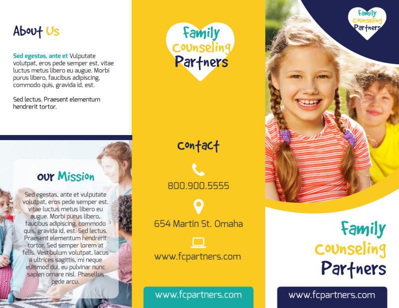 Counseling Family Tri-Fold Brochure Template Preview 2