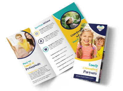 Counseling Family Tri-Fold Brochure Template preview