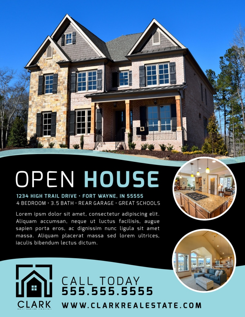 Black & Teal Open House Flyer Template Preview 2