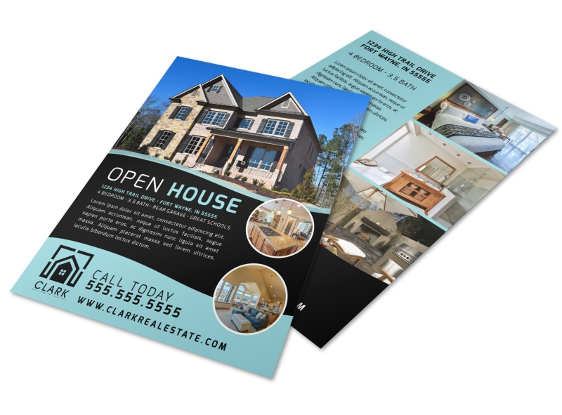 Black & Teal Open House Flyer Template Preview 4