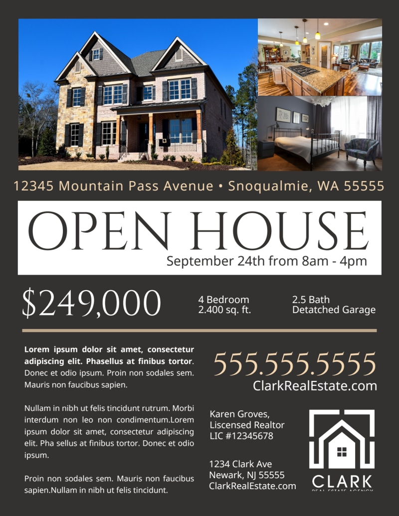 Dark Open House Flyer Template Preview 2