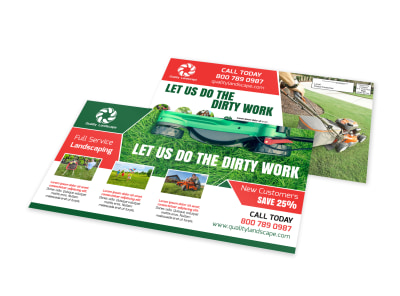 Dirty Work Landscape EDDM Postcard Template preview