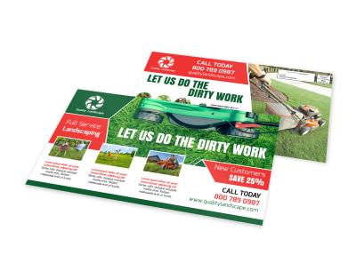 Dirty Work Landscape EDDM Postcard Template preview
