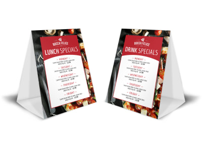 Restaurant Drink & Lunch Table Tent Template preview