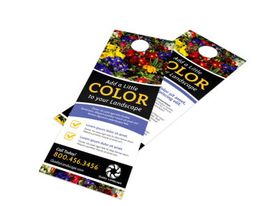 Colorful Landscaping Door Hanger Template preview